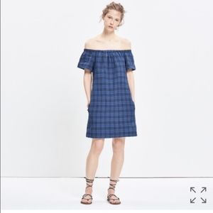 Madewell Buffalo Plaid Off Shoulder Shirt Dress